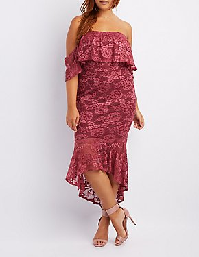 Plus Size Lace Ruffle-Trim Off-The-Shoulder Bodycon Dress