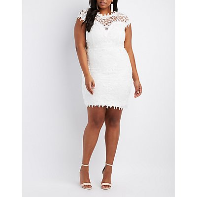 Plus Size Crochet Lace Bodycon Dress