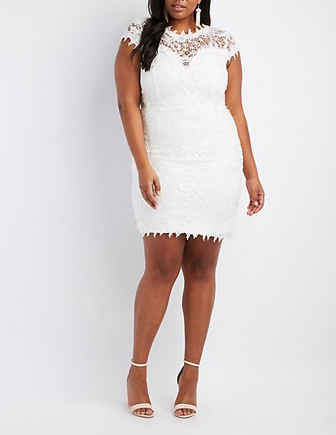 Plus Size Crochet Lace Bodycon Dress Charlotte Russe
