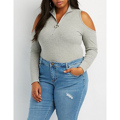 Plus Size Mock Neck O-Ring Bodysuit