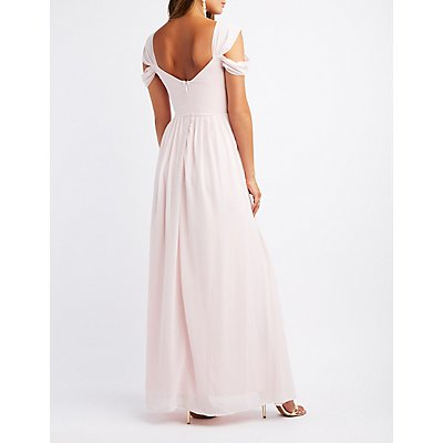 Pleated Cold Shoulder Maxi Dress