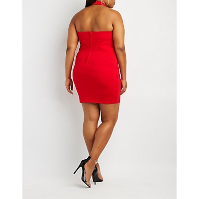 Plus Size Caged Choker Neck Bodycon Dress