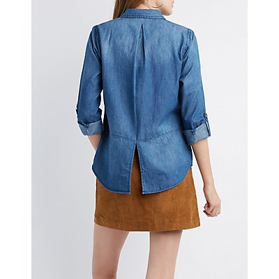 Destroyed Chambray Shirt