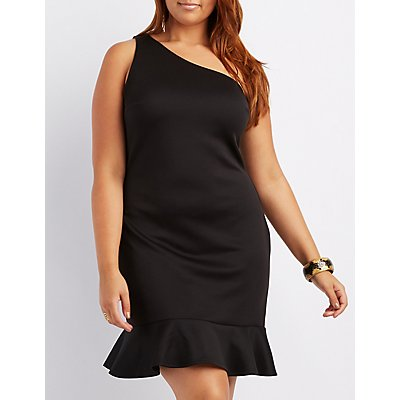 Plus Size One-Shoulder Ruffle-Trim Bodycon Dress