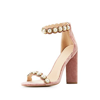 Pearl Embellished Two-Piece Sandals