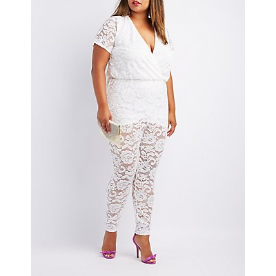 Plus Size Lace Surplice Jumpsuit