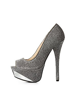 Metallic Peep Toe Platform Pumps