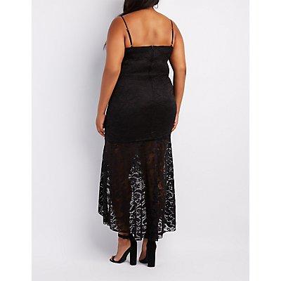 Plus Size Lace High-Low Maxi Dress
