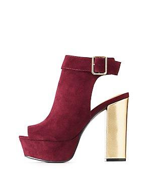 Metallic Heel Peep Toe Platform Sandals