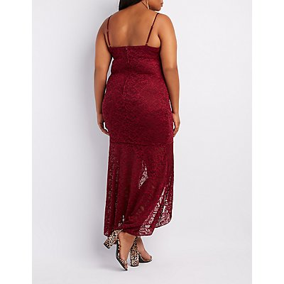 Plus Size Lace High-Low Maxi Dress