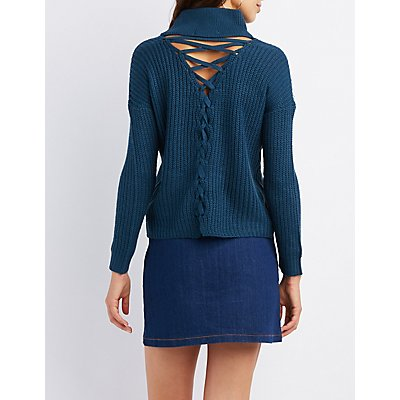 Lace-Up Back Mock Neck Sweater