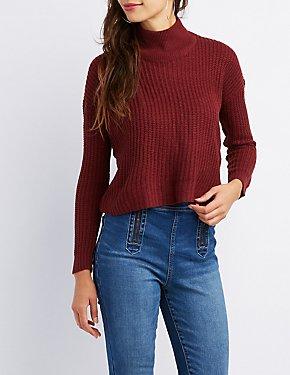 Lace-Up Back Mock Neck Sweater