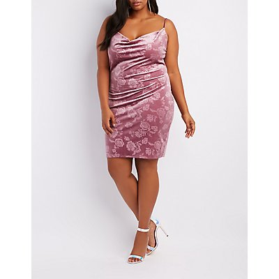 Plus Size Floral Velvet Cowl Neck Bodycon Dress