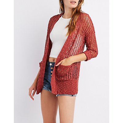Open-Knit Open-Front Cardigan