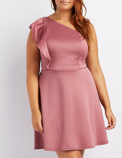 Plus Size Ruffle Trim One Shoulder Skater Dress Charlotte Russe