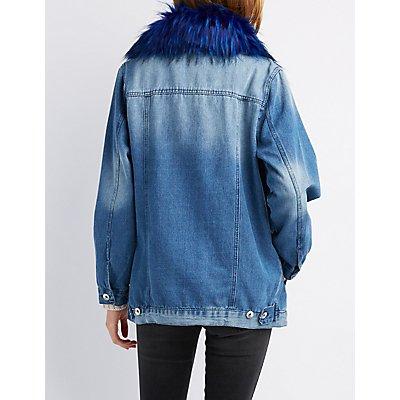 Faux Fur-Trim Denim Jacket