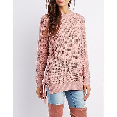 Lace-Up Shaker Stitch Sweater