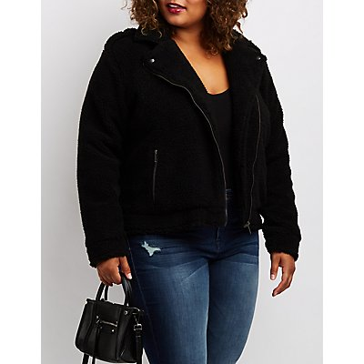 Plus Size Sherpa Moto Jacket