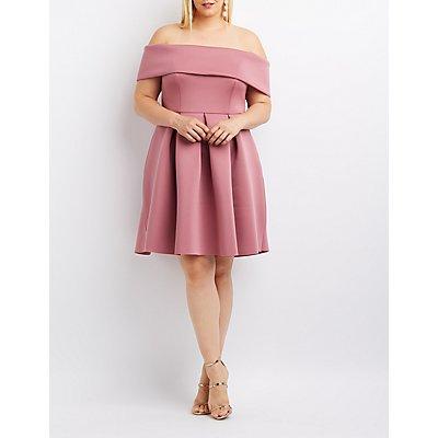 Plus Size Ruffle Off-The-Shoulder Skater Dress