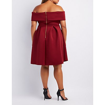 Plus Size Off-The-Shoulder Scuba Skater Dress