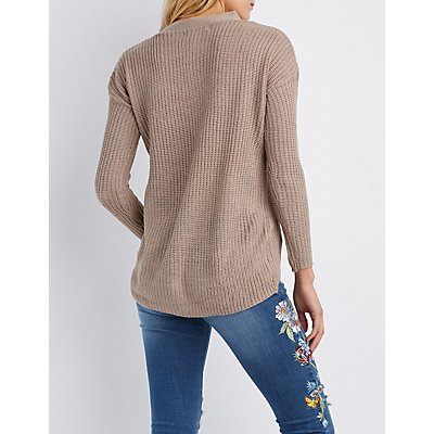 Shaker Stitch Strappy-Front Sweater
