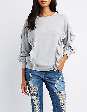 Ruffle-Trim Pullover Sweatshirt