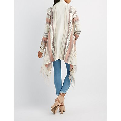 Striped Fringe Cascade Cardigan