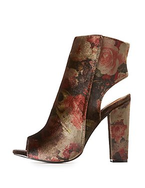 Bamboo Floral Velvet Booties