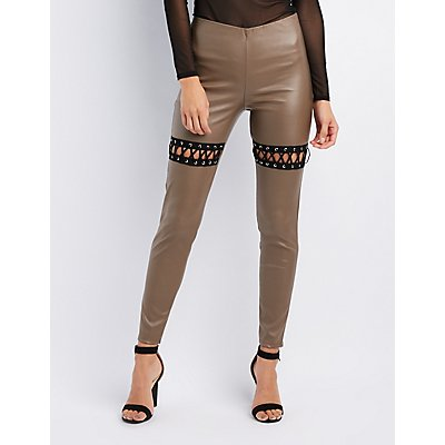 Lace-Up Detail High-Waisted Leggings