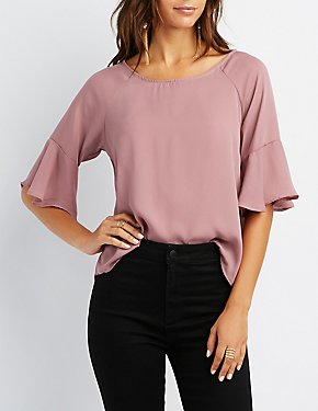 Ruffled Bell Sleeve Top
