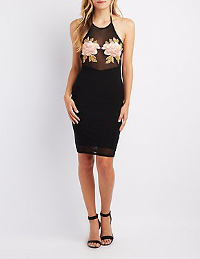 Floral Patch Mesh Bodycon Dress