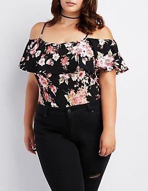 Plus Size Floral Cold Shoulder Bodysuit