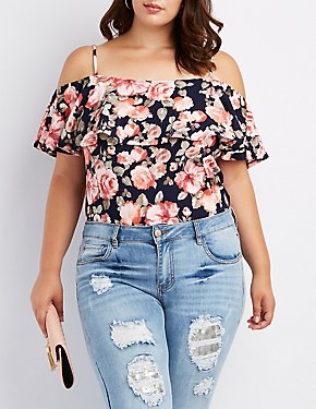 Plus Size Floral Ruffle Cold Shoulder Bodysuit