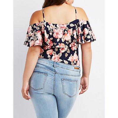 Plus Size Floral Ruffle Cold Shoulder Bodysuit