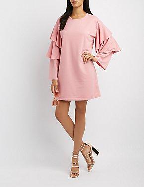 Tiered Ruffle Sleeve Sweatshirt Dress