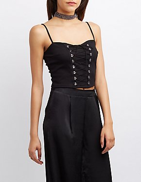 Lace-Up Corset Crop Top
