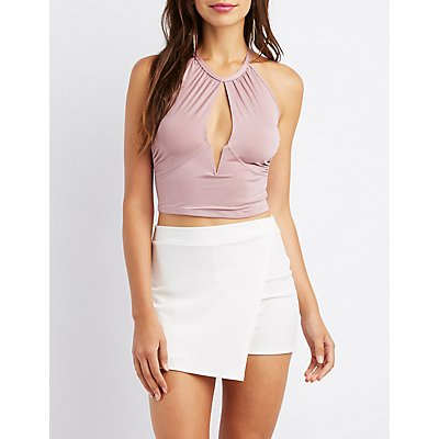 Notched Open-Front Crop Top