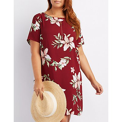 Plus Size Floral Keyhole Shift Dress