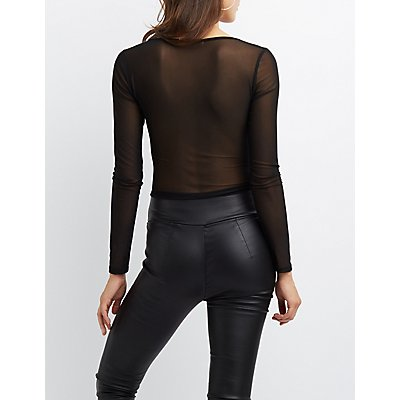 Ruched Sheer Mesh Crop Top