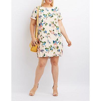 Plus Size Floral Keyhole Shift Dress