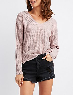 Mixed Knit Caged-Back Sweater