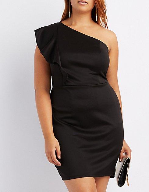 Plus Size Ruffle-Trim One-Shoulder Skater Dress   Charlotte Russe