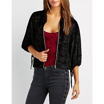 Velvet Tie Sleeve Bomber Jacket