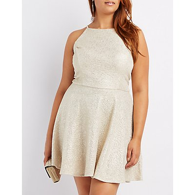 Plus Size Bib Neck Keyhole Skater Dress