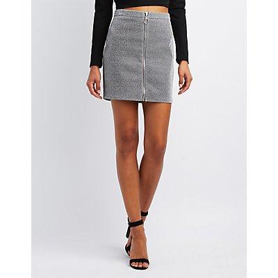 Metallic Zip-Up Skirt
