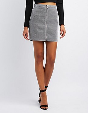 Metallic Zip-Up Skirt