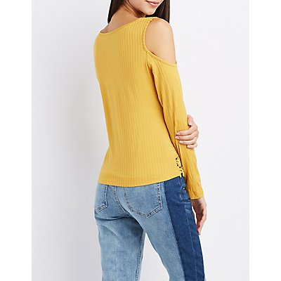 Crochet-Trim Cold Shoulder Lattice Top