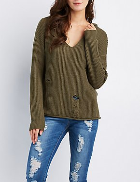 Shaker Stitch Destroyed Hoodie Sweater