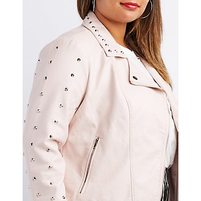 Plus Size Studded Faux Leather Moto Jacket