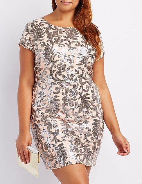 Plus Size Sequin Open Back Bodycon Dress | Charlotte Russe